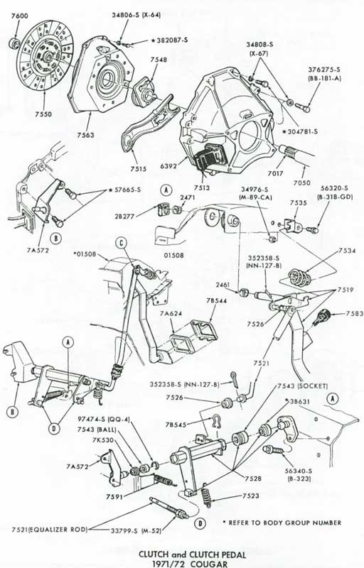 1968 ford mustang wiring diagram 1967 clutch linkage 1971 - 1973 clutch linkage and equalizer parts at west ...